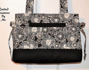 READY To SHIP Quilted Handbag Tote Bag Bow Tuck Style MAdE and READy To SHIP  by QuiltedCreatonsByMe