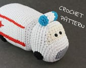 Crochet toy ambulance pattern - amigurumi ambulance car - pdf tutorial US English