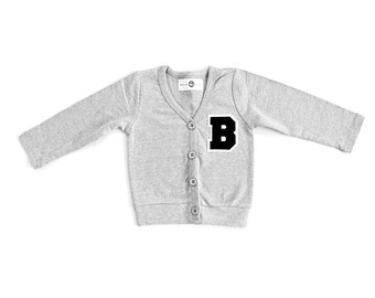 Kids Personalized Varsity Letter Cardigan, Monogrammed Sweater, Baby Clothes, Kids Clothes, Christmas Gift, Cute Sweater, Letter Sweater
