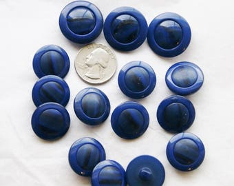 15 Blue Buttons, Large Buttons, Dark Blue Buttons, Shank Back Jewelry  Art Buttons (S 37a)