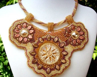 Holiday Sale Golden Sun Bib Necklace Bead Embroidered Ray of Hope