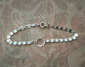 Sterling Silver, Circle Link Chain with Infinity Circle Bracelet