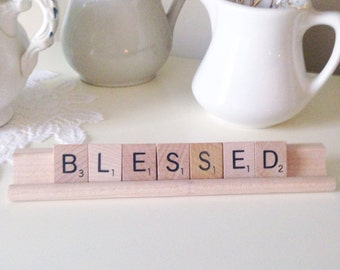 Blessed Scrabble Letters Blessed Sign Rustic Farmhouse Chic Home Decor Blessed Easter Sign Scrabble Sign