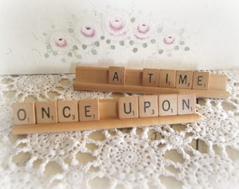 Once Upon A Time Cake Topper Scrabble Letter Sign Rustic Wedding Reception Decor