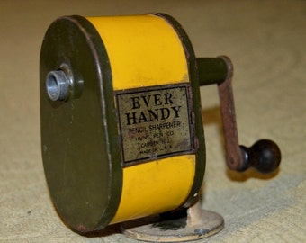 Vintage Ever Handy Pencil Sharpener Hunt Pen Co. Camden New Jersey Made in the USA Counter Mount Yellow & Green Art Office