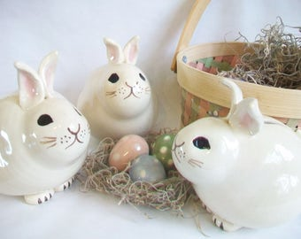 Bunny Bank -  Easter Gift - Newborn Baby / Child Gift -- Handmade, Wheel thrown - OOAK -- Ready to Ship - Actual Bunny Banks