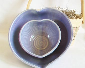 Purple Heart Bowls,  Larger Nesting Bowls - 6.5, 4 in. diameter - Handmade on the Wheel - Serving Bowls - Gift Set-2  - Ready to Ship