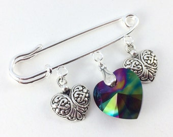 Safety Pin Ally Brooch - Love Trumps Hate Silver & Dark Rainbow Heart Pin