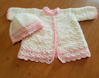 Crocheted Baby Girl Boy Infant Cardigan Sweater/Hat
