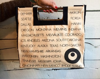 Vintage 1970s/1980s Cities and States handle bag