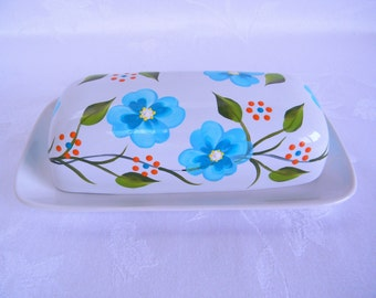 Butter dish, hand painted butter dish, floral butter dish, large butter dish, white butter dish, kitchen decor, serving dish