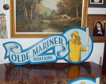 """1950's Seaside """"Olde Mariner Boatique"""" Hand Painted Folk Art Nautical Advertising Plywood Building Sign ~ Old Man and the Sea  ~ 2nd of 2"""