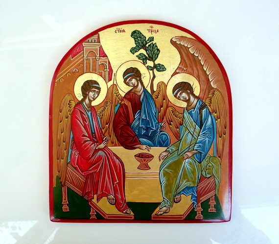 The Holy Trinity icon, Three Angels painting,  Hospitality of Abraham icon, Wedding Gift, Baptism Gift,  7 x 8 inches