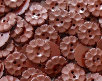Brown Flower Buttons - Vintage Molded Plastic Flower Buttons - 1950's Sewing Buttons -  Reddish Brown Craft Buttons - B120 - 6 Buttons