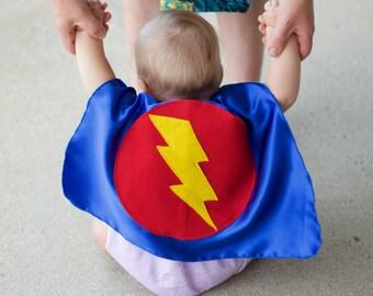 Baby SUPERHERO Cape Set - Superhero Cape PLUS Baby hero Wrist Bands - Lots of color combinations - Birthday gift - Photo prop - Baby Costume