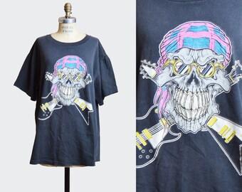 Vintage 90s TRIXTER Skull Guitar TShirt / 1990s World Tour Hard Rock Hair Metal Concert Band T Shirt Shirt m l