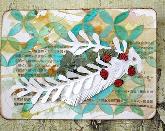 Original Ladybug Watercolour Painting - Fly Away Home
