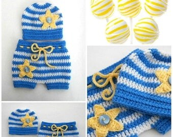 ON SALE 15% SALE Baby Twinkle Star Outfit_ Crochet Baby Hat and Shorts _NewBorn Baby Crochet Outfit _Newborn Baby Boy Photo Props_Newborn Ba