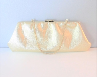 Vintage 1960's Gold Handbag Clutch / Metallic Golden Make Up Bag Clutch Purse