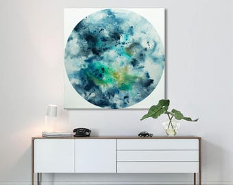 Large Abstract seascape giclee print on canvas from painting square blue turquoise white 'Birth of the sea II' 579