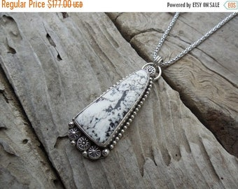 ON SALE Beautiful White Buffalo necklace handmade in sterling silver