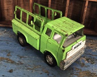 Vintage Toy Truck, Vintage Marx Toy, Vintage Green Truck, Vintage Marx Truck, Vintage 1970s Truck