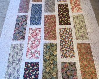 Patchwork Lap Quilt Top, Unquilted, in Florals and Cream Brick Background, 80x65 inches, with 1 yard background fabric for binding.