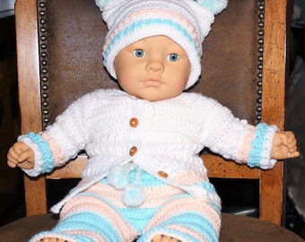 Hand crochet 3 Piece Outfit, Pants, Sweater, Hat