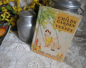 1939 Child's Garden of Verses Book McLoughlin Bros Vintage at Quilted Nest