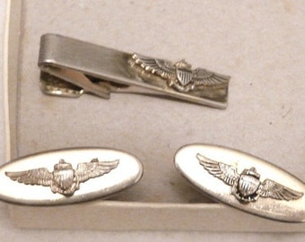 Vintage Pilots Wing Tie Clasp & Cuff Links In Silver Tone