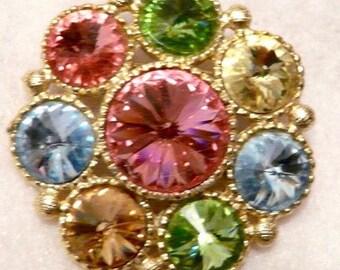 Beautiful Multicolored Rhinestone Brooch Jewelry Pin