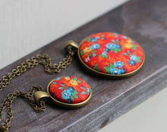Colorful Boho Jewelry, Floral Fabric Necklace, Red Hippie Necklace, Retro, Primary Colors, Blue Yellow Red Pendant