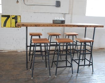 Reclaimed Wood Commercial Table, Bar Height Bistro Table/Restaurant Table/Industrial Pub Table with steel legs-choice of color, size, finish