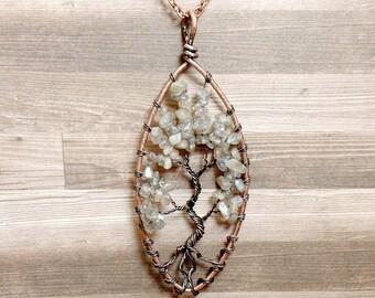 Labradorite Tree of Life Necklace - Labradorite Necklace - Gemstone Necklace - Labradorite Pendant - Copper Necklace - Gray Necklace