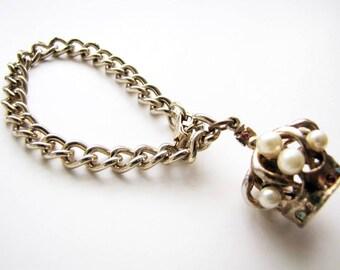 Vintage Charm Bracelet Gold Link Bracelet Crown Pearls Jewels Dangle Charm from AllieEtCie