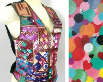 Abstract Design Sequined Vest Top // Silk and Sequins Vintage Deadstock NWT