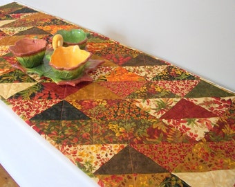 Fall Table Runner Autumn Fall Foliage Quilted Quiltsy Handmade FREE U.S. Shipping
