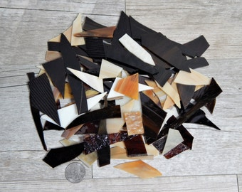 Mixed Brown Stained Glass Scraps Mosaic Craft Supplies 16 oz