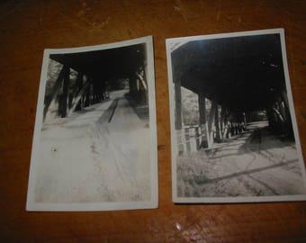 Vintage Covered Bridge Photographs Lot of 2 Old Covered Bridge Snapshots X 2 Covered Bridge Portait Snapshots Same Bridge Different Times