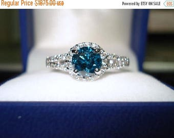 on sale blue diamond engagement ring 132 carat 14k white gold halo certified handmade - Blue Diamond Wedding Rings