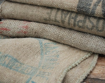 Small Upholstery Grain Sack,  Hessian fabric, Farmhouse decor, Vintage grain sack fabric planter.