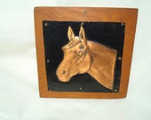 1960s Copper and Wood Horse Head Plaque Art.