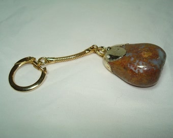 1979 Large Brown Agate Stone Keychain.