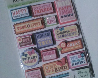 Simply Sweet Word Dimensional Scrapbook Sticker Embellishments from K&Company // Craft Supply 16pcs