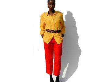 Yellow silk oversize long sleeve blouse 1990s 90s VINTAGE