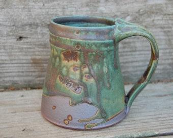 Turquoise Mug, Cup, 12 ounces, hand thrown stoneware by Jennie Blair