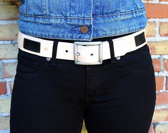 Unisex Fusion Leather Belt Two Tone Black Natural Brown Leather Nickel or Brass Removable Buckle