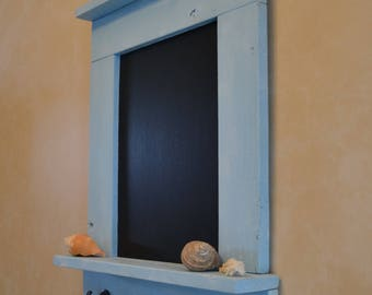 Rustic Chalkboard Organizer, Message Center, Key Holder, Entryway Organizer, Farmhouse Chalkboard, Salvaged Wood Chalkboard, Sea Glass Blue