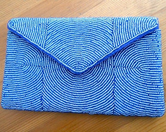 Vintage Blue Beaded Envelope Clutch Purse for a Wedding Easter or Mothers Day