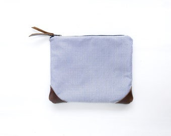 Classic Timeless Leather Canvas Clutch, Blue and White Stripes, Evening Clutch,